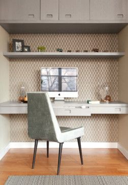 Study Nook wall paper floating shelves and desk