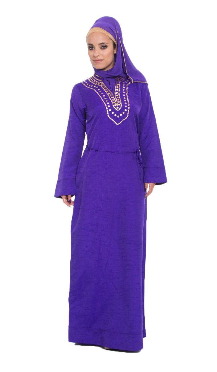 Sequin Embroidered Purple Islamic Formal Caftan Dress with Hijab at Artizara.com - Long Sleeve Modest Dress