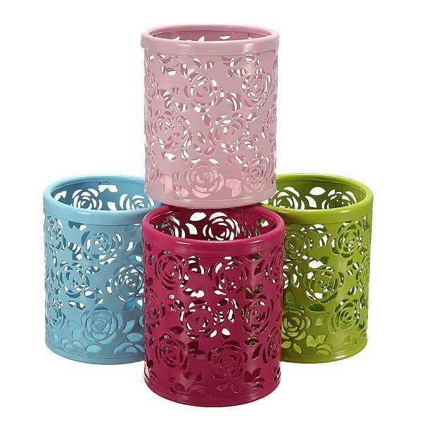 Hollow Rose Flower Pattern Cylinder Pen Pencil Holder Container  	Specifications 	Material: Metal 	Diameter: 8.4cm 	High: 10cm 	Color: Red, Pink, Green, Blue 	Creative hollow roses design 	Beautiful, Durable 	Good for holding your pen, pencils, rulers,...