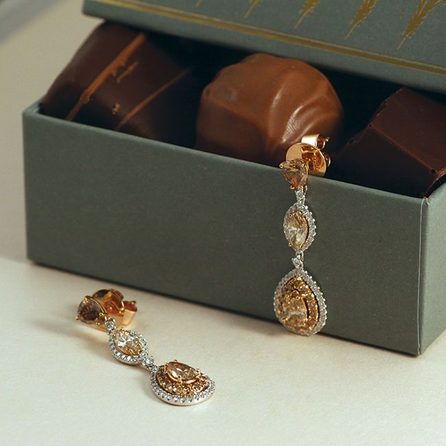 Stunning champagne diamond earrings from the Champagne du Chocolat Collection by Matthew Ely!