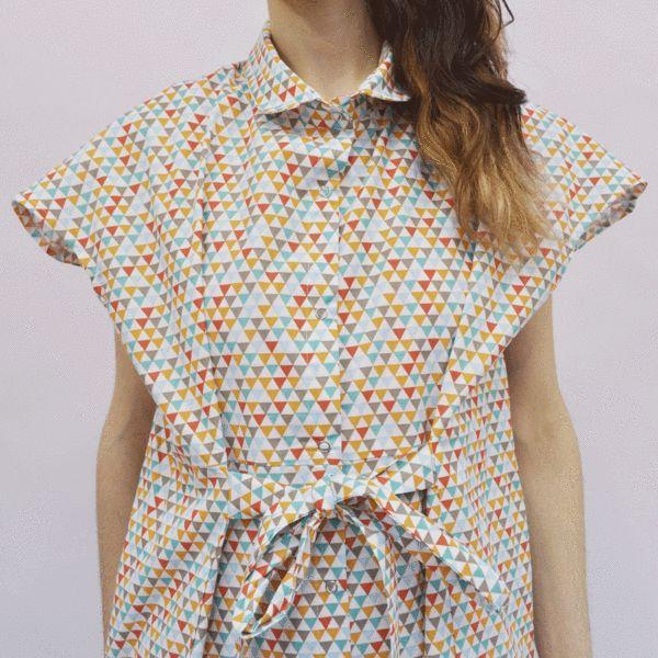 Shirt Dress Nanami in Multicolored Triangles Cotton Poplin – Akira Mushi