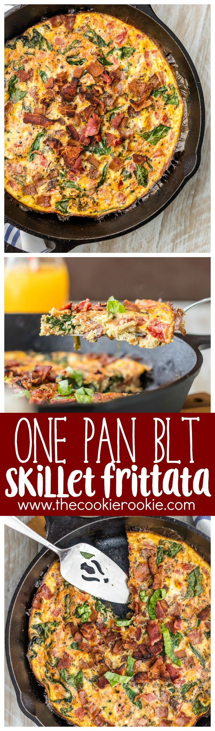 One Pan BLT Skillet Frittata is the perfect EASY RECIPE for breakfast or brunch! Healthy, delicious, and quick. Great for Christmas morning brunch!
