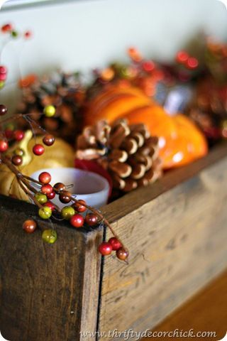 Here is an easy-to-make fall inspired tablescape. You can find all the supplies you need to make it yourself at Old Time Pottery! | www.oldtimepottery.com: Centerpieces Ideas, Fall Centerpieces, Decor Ideas, Wood Trough, Fall Decor, Thrifty Decor, Fall Thanksgiving, Wood Boxes, Fall Tablescapes