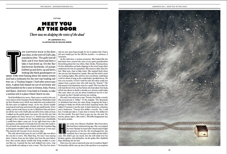 """Gold winner in #Illustrations. """"Meet You at the Door"""" by Selena Wong published in The #Walrus, 2011."""