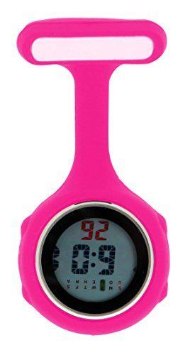Ellemka JCM-330 Reloj de Enfermera Digital Movimiento de Cuarzo Multi-Funcional Programable con la Broche FOB de Silicona Goma Doctor Para-Médico Color Magenta.