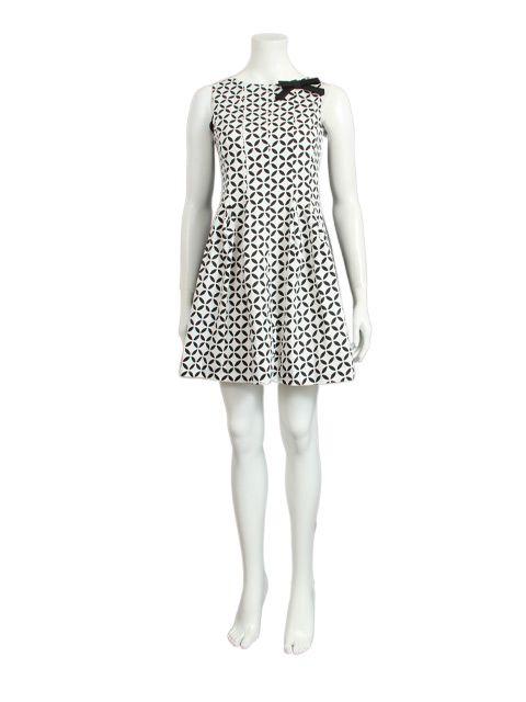 Jurk wit zwart print met strikje - Halflange jurken - BoBo Tremelo