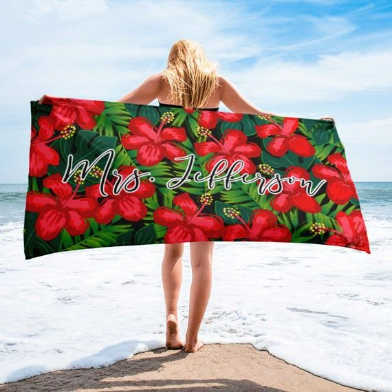 Custom Monogram Beach Towel Tropical Beach Towel Custom Name