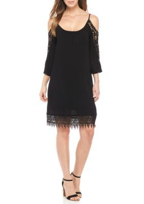 Lennie for Nina Leonard  Cold Shoulder Crochet Sleeve Dress