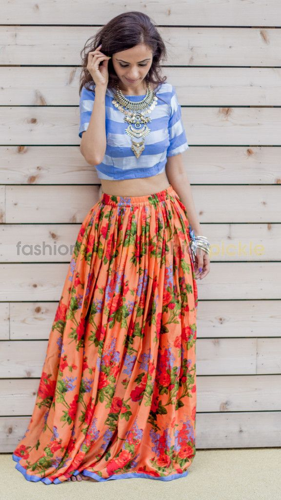 Long Orange and Blue pleated Skirt with Blue blouse