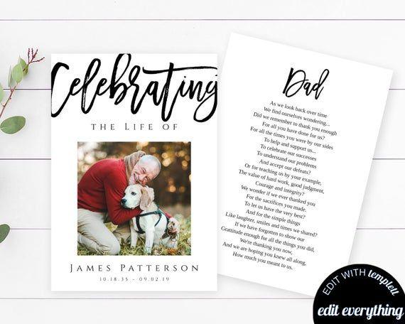 Modern Funeral Prayer Card Template Printable Memorial Prayer Card