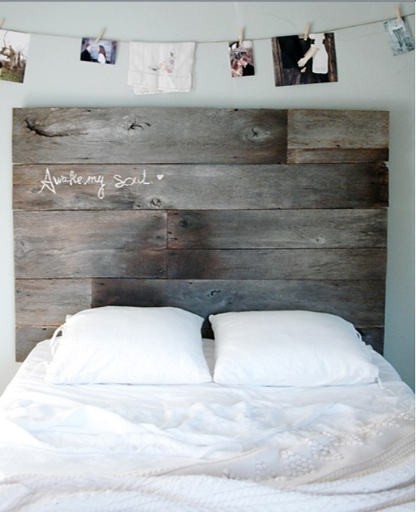 Love the head board and the photos on a string. Do black and white ams postcard paper for a vintage feel.