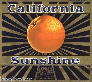 Orange Crate Label Vintage California Sunshine Art Deco