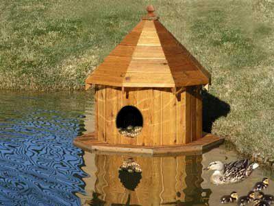 Floating Duck Houses for Ponds | The Hobbs Cedar Wood Floating Duck Nesting House