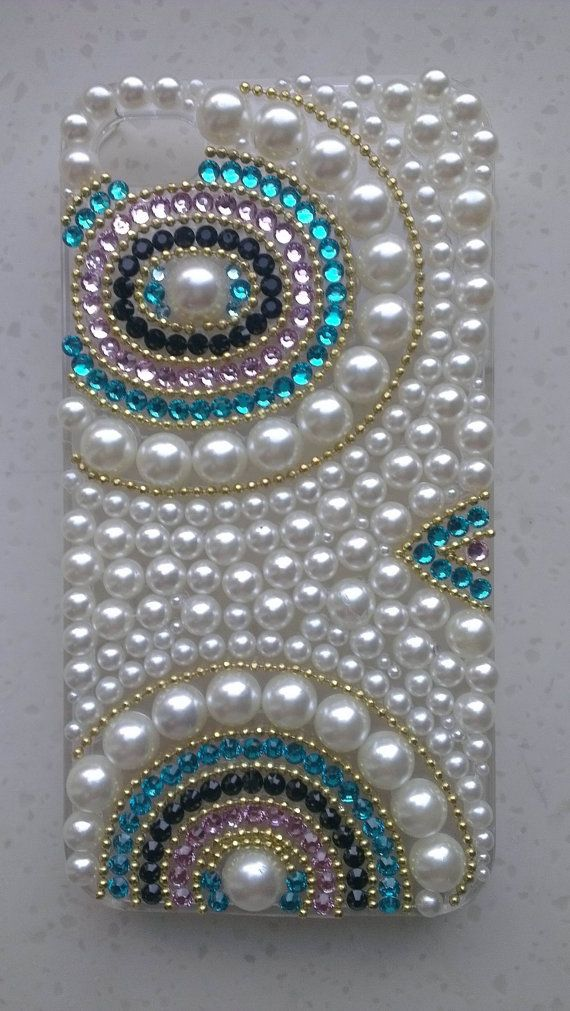 Custom Pearl iPhone Case Bling Crystals decorate by AmeliaDIY, $25.00