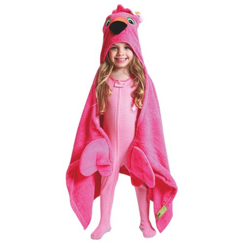 Franny the Flamingo! Velour details add a touch of additional softness, while her big beautiful appliqued eyes are sure to steal your heart too! Terry hand grabs for fun and front of hood lined with soft jersey for comfort. #Frannytheflamingo #hoodedtowel #pink #zoocchini