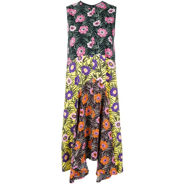 Marni Floral Print Dress (5.420 BRL) ❤ liked on Polyvore featuring dresses, multicoloured, night out dresses, floral pattern dress, colorful party dresses, going out dresses i floral party dresses