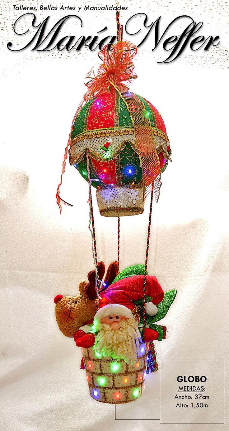 Globo Navideño Colgante. Con Luces y tres lindos muñequitos: Papá Noel, Reno y Nieve