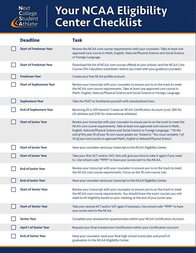 NCAA Eligibility Center Checklist college education