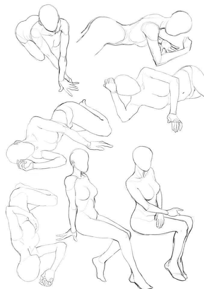 Laying down. Sitting. Female