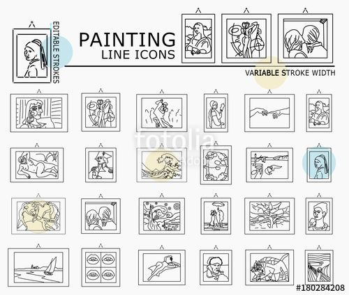 "Download the royalty-free vector ""Famous painting line icons with minimal nodes and editable stroke width and style"" designed by dropix at the lowest price on Fotolia.com. Browse our cheap image bank online to find the perfect stock vector for your marketing projects!"