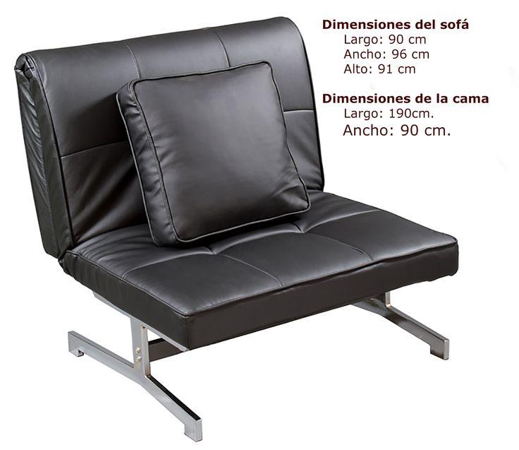 Sof cama poli piel negro gracias a su dise o se puede for Sofa cama individual