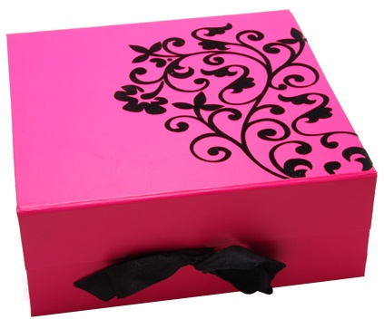 Flat Pack Box with Flocking and Satin Ribbon