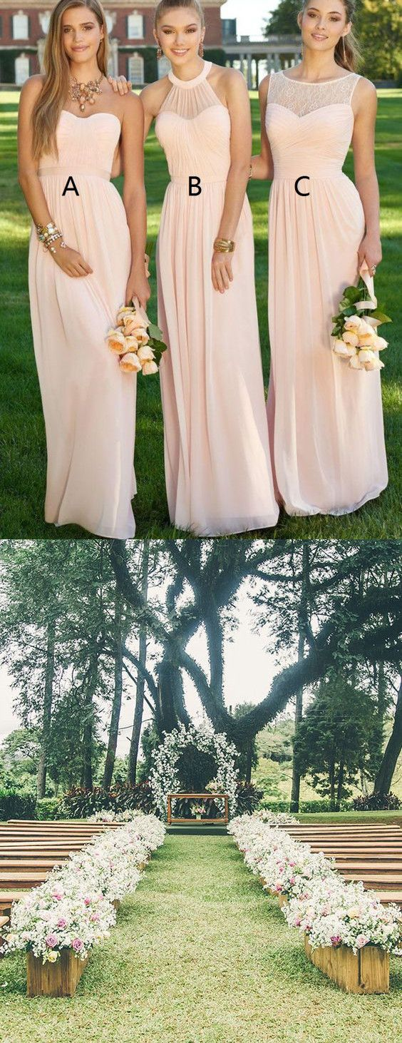 Elegant Bridesmaid Dress, Floor-Length Pink Bridesmaid Dress, Plus Size Bridesmaid Dresses, outside wedding,