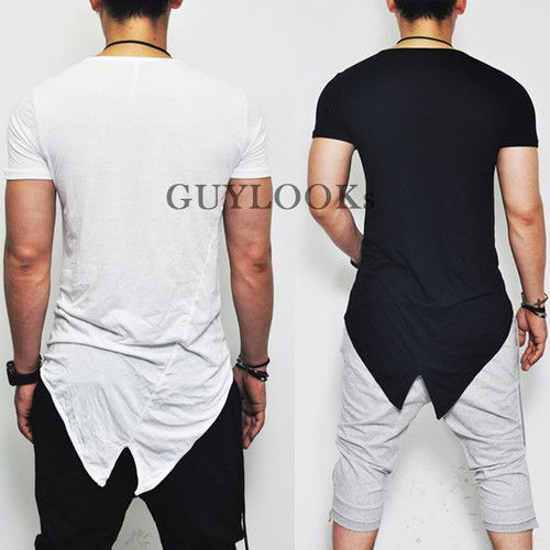 Avant Garde Edge Mod Mens Unbalance Cut Design Silket Tail Crew Tee by Guylook   eBay
