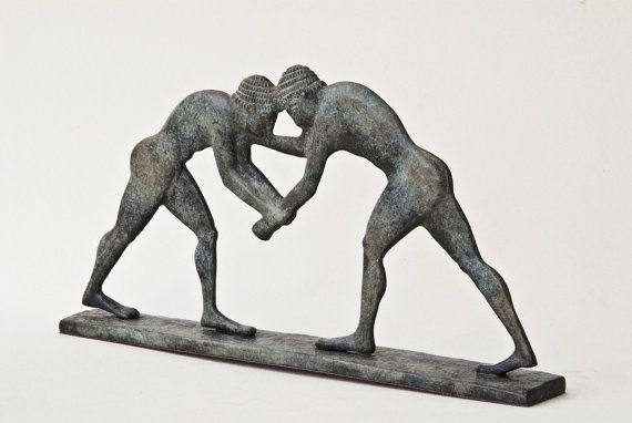 Wrestling Sculpture Bronze Greek Athletes Statue by GreekMythos
