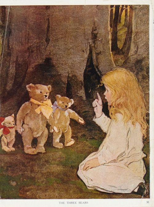 """Jessie Willcox Smith, from """"The Now-A-Days Fairy Book"""" (1922)Wilcoxsmith, Willcoxsmith, Teddy Bears, Wilcox Smith, Jessie Wilcox, Three Bears, Book Illustration, Jessie Willcox Smith, Children Book"""