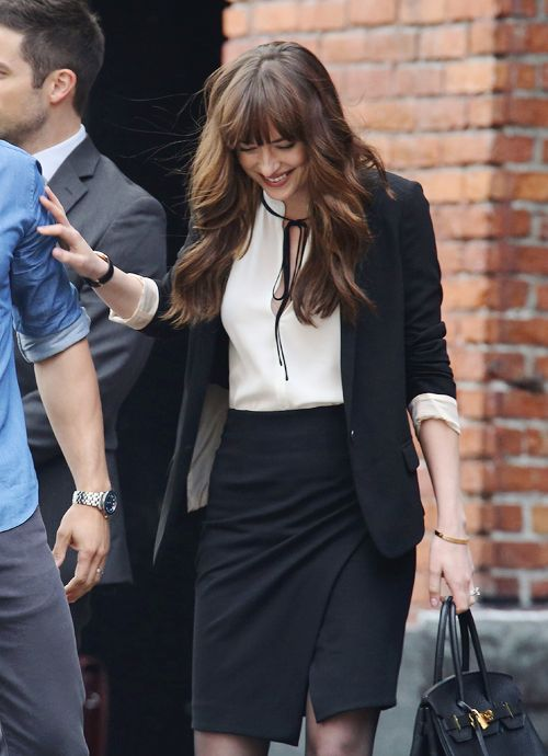""" Dakota Johnson on the set of 'Fifty Shades Freed' on June 20, 2016 in Vancouver, Canada. """