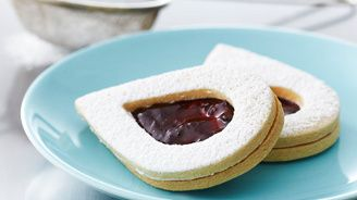Bake With Anna Olson - Almond Linzer Cookies Convection bake 325 degrees. 10-11 mins for bottoms & 9 mins for tops.
