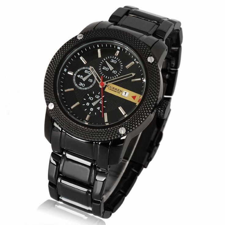 Luxury New Curren Army Black Stainless Steel Date Sports Quartz Mens Wrist Watch $29.96 http://roksmu.blogspot.com/2014/07/army-watch.html