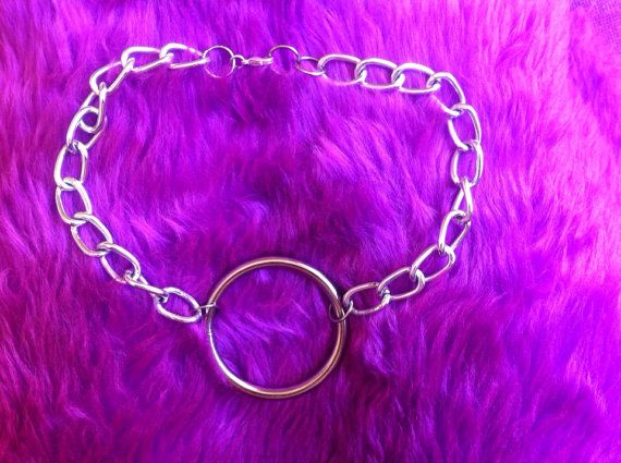 Bondage thick chunky silver Chain 1 O ring by HEAVYxMENTAL on Etsy
