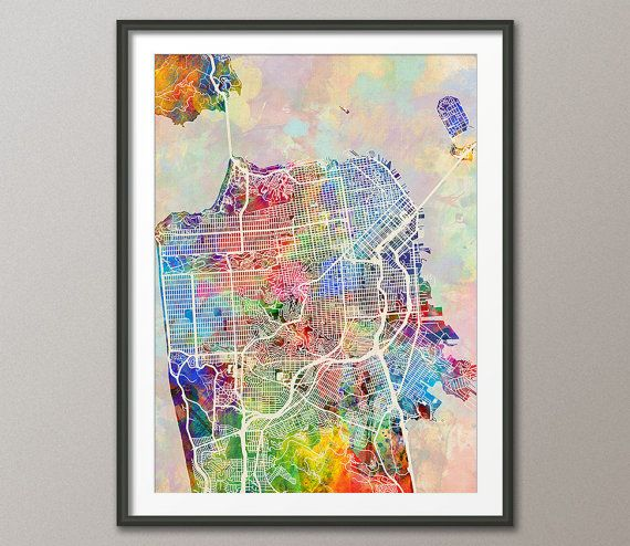 San Francisco Watercolor City Street Map, art print  Frame/Matte is not included. Available sizes are shown in the SELECT A SIZE drop…