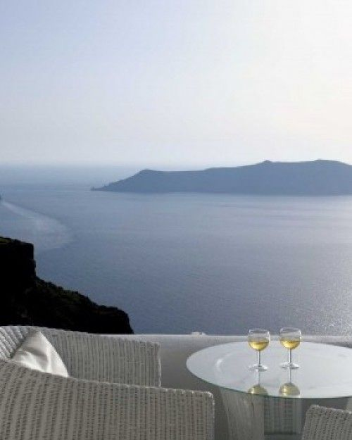 Iliovasilema Suites  ( Santorini, Greece )  Sit on your balcony and take in the views of the Aegean sea below. #Jetsetter #JSVolcano