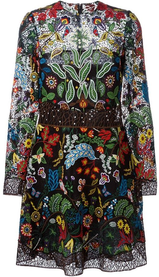 Valentino floral embroidered dress. Multicoloured stretch silk and cotton blend floral embroidered dress from Valentino featuring a round neck, a concealed rear zip fastening and three-quarter length sleeves. $15,000