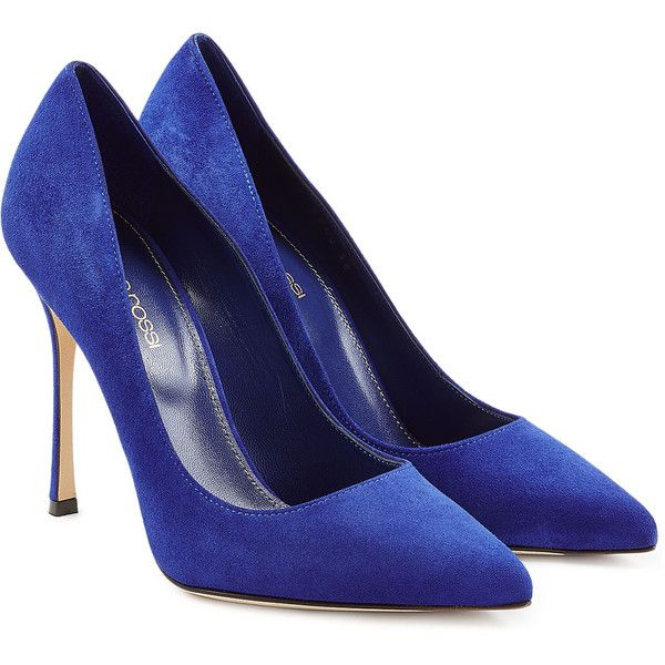 Sergio Rossi Suede Pumps ($445) ❤ liked on Polyvore featuring shoes, pumps, sapatos, blue, pointy toe pumps, stiletto pumps, blue pumps, pointed toe high heels stilettos and pointy toe stiletto pumps