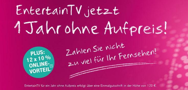 Telekom Entertain TV ein Jahr lang kostenlos --VDSL Tarife ab 1995 Euro   Auch im Monat Februar bietet die dt. Telekom ihre schnellen DSL- und VDSL Telefonanschlüsse im Rahmen der Tarifaktions-Verlängerung aus dem Vormonat mit einem Online-Rabatt von 10 Prozent bei 24 Monaten Laufzeit an. Ferner gibt es das Entertain-Produkt auf Wunsch ein Jahr lang kostenlos. Auch gibt es die schnellen VDSL 100 Magenta Zuhause Tarife ab 1995 Euro statt 4495 Euro. So sparen unsere Leser in den ersten 12…