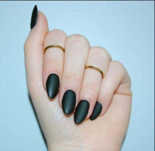 Matte black almond shaped nails