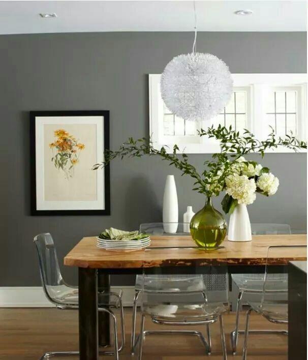 Dress your dining walls to impress with Benjamin Moore's Chelsea Gray HC-168. Exeterpaintstores.com/sb.cn #gray #exeterpaint #design