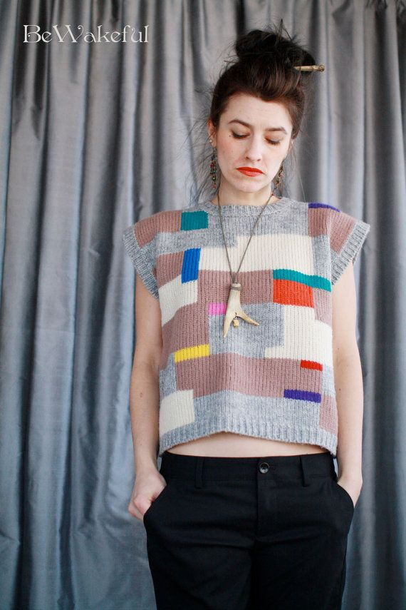 Cropped Wool 1980s Neon Geometry van BeWakeful op Etsy
