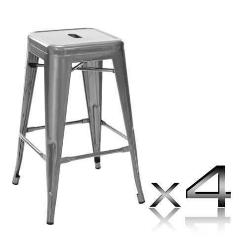replica tolix bar stool set 4 66cm metallic