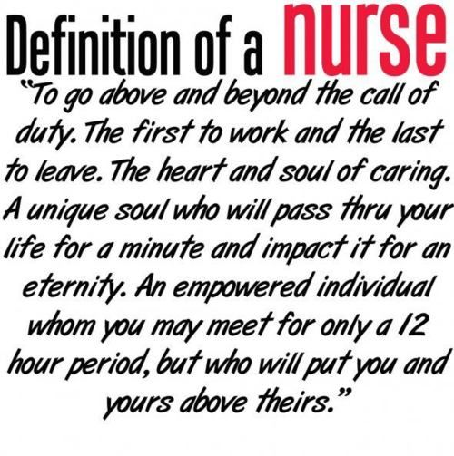 to all of the nurses & soon to be nurses...I hope we can remember this after 11.5 hours of cranky patients...I suspect it will be difficult sometimes.