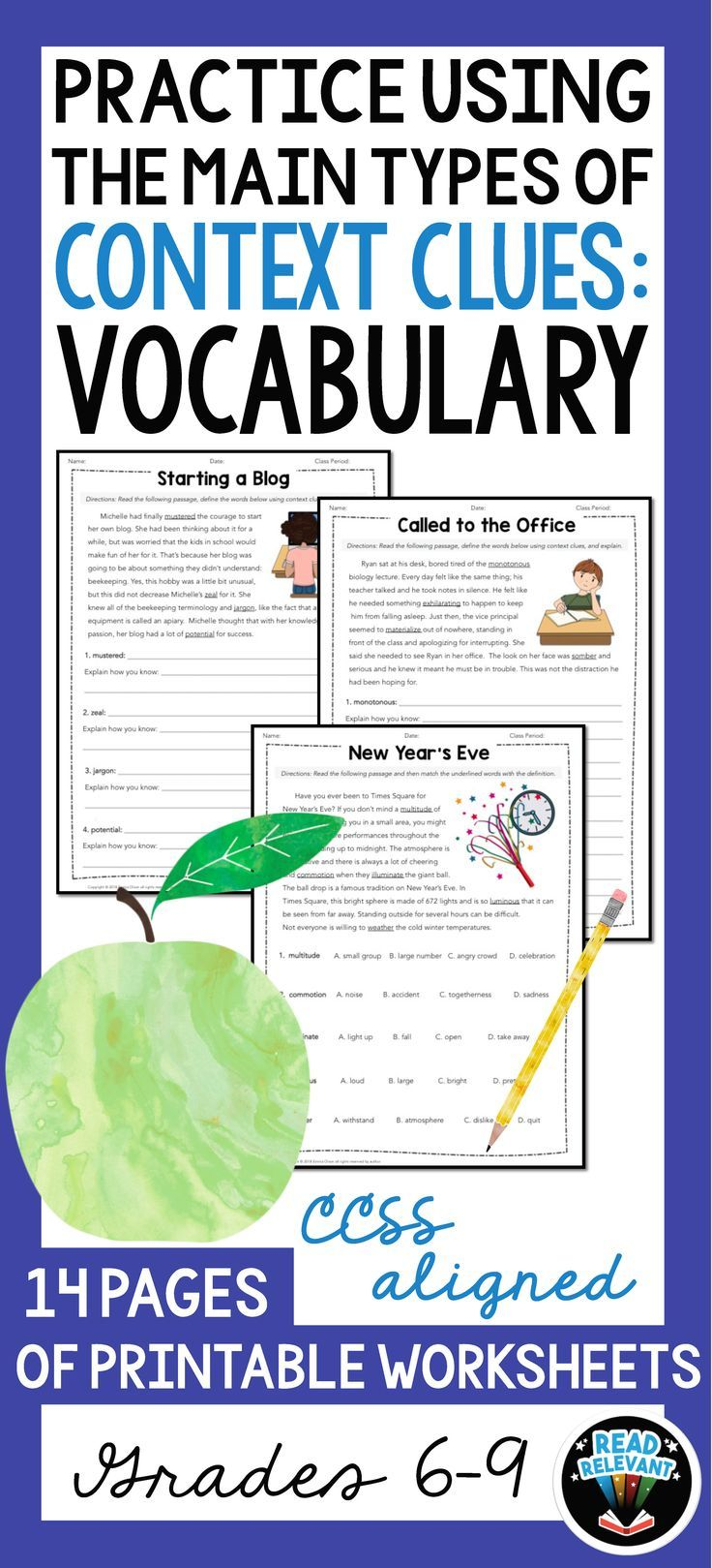 Do Your Students Struggle With Understanding And Using Vocabulary This Resource Developed Using The 100 Wo Context Clues Context Clues Worksheets Vocabulary [ 1619 x 736 Pixel ]