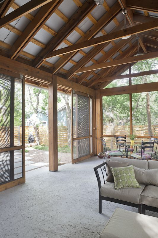 Sampley screened in porch this makes me happy exposed ceiling rafters design - Screen porch roof set ...