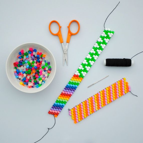 Jenna! 'Nuther thing to do with those Perler beads (apart from ironing them and losing them in the carpet, I mean).