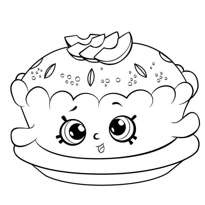 Shopkins Apple Pie Colouring Page - Coloring And Drawing