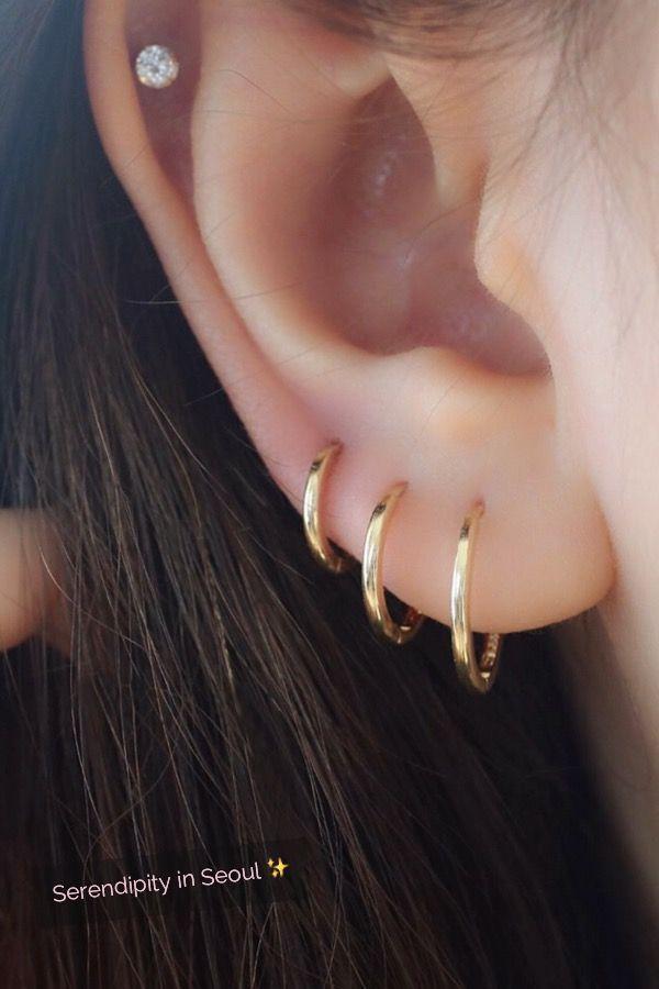 14k Gold Slim Sleeper Hoop Earring Best Ear Jewelry Earings Piercings Diamond Earrings Studs