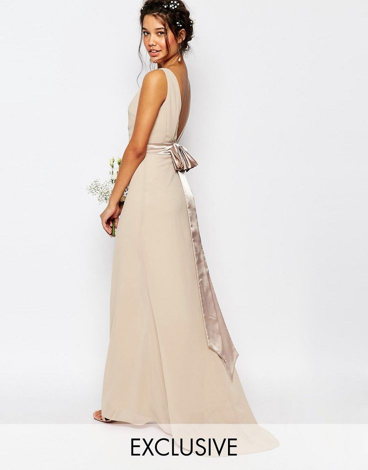 Image 1 of TFNC WEDDING Sateen Bow Back Maxi Dress